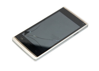 The mobile phone with cracked display