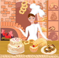 Baker with pastries on background bakery