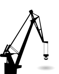 Vector drawing of a cargo crane and the shadow of his arrows