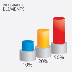 Infographic design with colored round columns