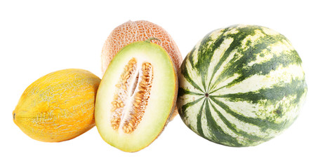 Melons and watermelon isolated on white