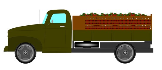 vintage truck with load of apples for market