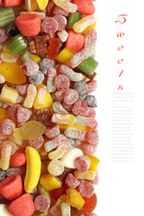 Sweet candy background with copy space
