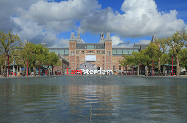 Pond and State museum. Amsterdam, Netherlands