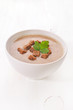 Bread soup with croutons and herbs