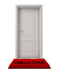 Closed Door with Welcome Mat Isolated on White Background