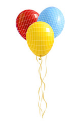 Group of  balloons. Vector illustration with visible mesh.