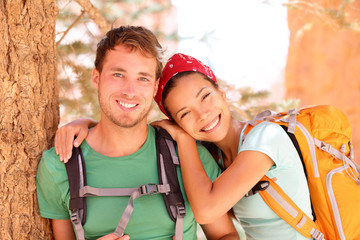 Hiking young couple portrait