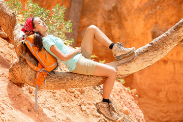 Resting relaxing woman hiker lying down
