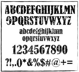 Old black retro rubber stamp style alphabet vector