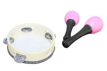 The image of tambourine and maracas