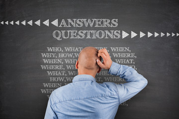 Answers questions on blackboard