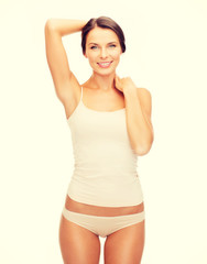 beautiful woman in beige cotton underwear