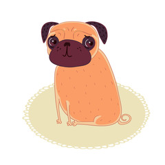 Pug sitting on the Mat