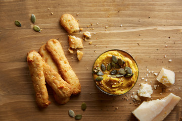 Cheese sticks with hummus