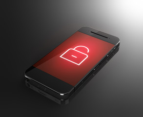 Smartphone with lock icon - security concept