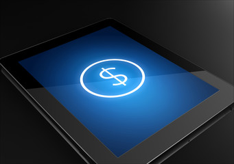 Tablet with dollar sign icon - business concept