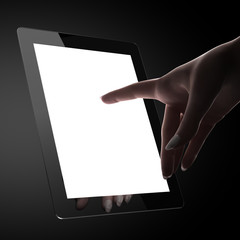 Woman touching blank pad display