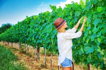 Farmer girl on vineyard