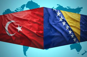 Waving Bosnian and Turkish flags