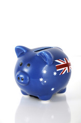 Handpainted money piggy bank with Australian flag