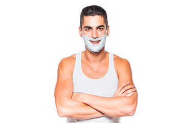 handsome man with shaving cream