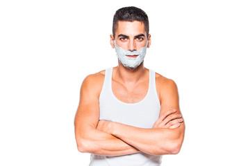 handsome man with shaving cream