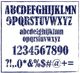 Old dark blue rubber stamp style alphabet vector