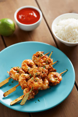 Marinated prank skewers with rice