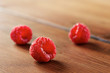 Fresh raspberries in wooden table