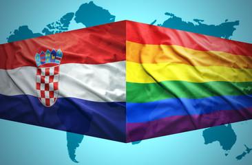 Waving Croatian and Gay flags
