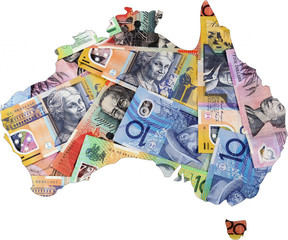 Map of Australia with Australian money
