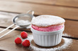 Delicious individual raspberry souffle