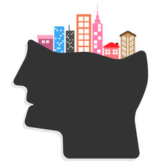 Abstract creative Ideas cities in people's heads concept. vector
