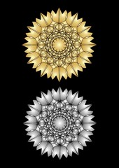 Star patterns in gold and silver plastic design