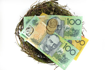 Australian money in the nest savings investment concept