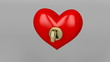 Unlocking red heart with gold key and starts to beating