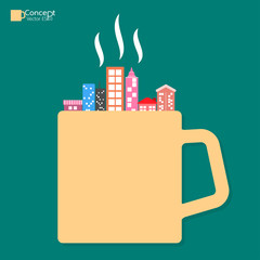 City of coffee cup concept. vector illustration