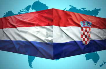 Waving Croatian and Dutch flags