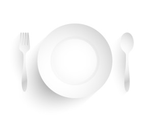 Empty dish, fork and spoon placed alongside. on white background