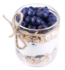 Healthy breakfast - yogurt with  blueberries and muesli served
