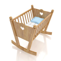 wooden baby cradle with blue pillow