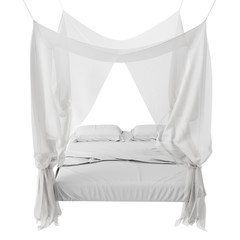 White Bed with canopy isolated on White background, Render