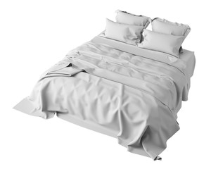 White Bed In Empty Space Isolated on White, Render
