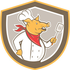 Pig Chef Cook Holding Spatula Shield Cartoon