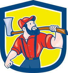 LumberJack Holding Axe Shield Cartoon
