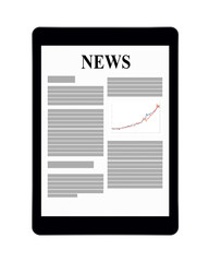 Business news on tablet display