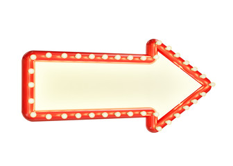 red marque arrow sign with blank space and light bulbs