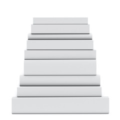 pyramid of blank books isolated on white background