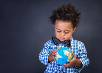 Happy preschooler discovering world